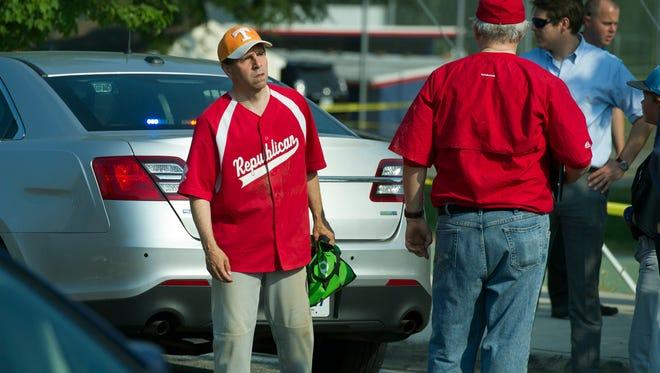 Rep. Chuck Fleischmann, R-Tenn. is seen near the scene of a shooting in Alexandria, Va., Wednesday, June 14, 2017, where House Majority Whip Steve Scalise of La. was shot during a Congressional baseball practice.  (AP Photo/Cliff Owen)