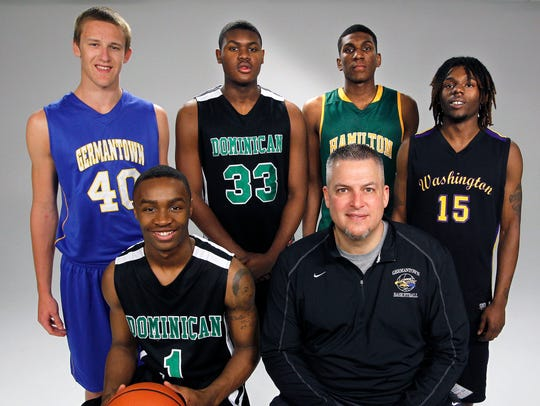 The 2013 All-Area boys basketball team included, front, left, Dominican's Duane Wilson all area player of the year, coach of the year Germantown's Steve Showalter, back row, left to right, Germantown's Luke Fischer, Dominican's Diamond Stone, Milwaukee Hamilton's Kevon Looney, and Milwaukee Washington's Jamaar McKay.
