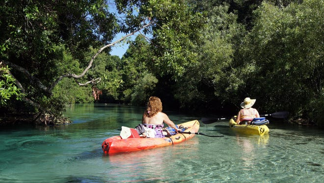 The Weeki Wachee River's translucent water and shallow sandy bottom create a dazzling experience as one of Florida's best rivers. A slow, easy, five-mile, three-hour kayak paddle downstream is an ideal day on the water.