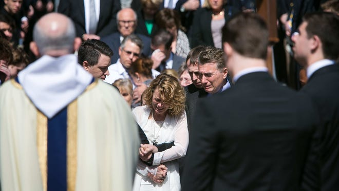 Hundreds gather at Salesianum School in Wilmington for the funeral of Tyler Brown, a senior at the private, Catholic school who was killed last week in a crash.
