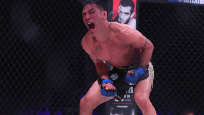 Emmanuel Sanchez reacts during his fight in Bellator 184 at Winstar World Casino.