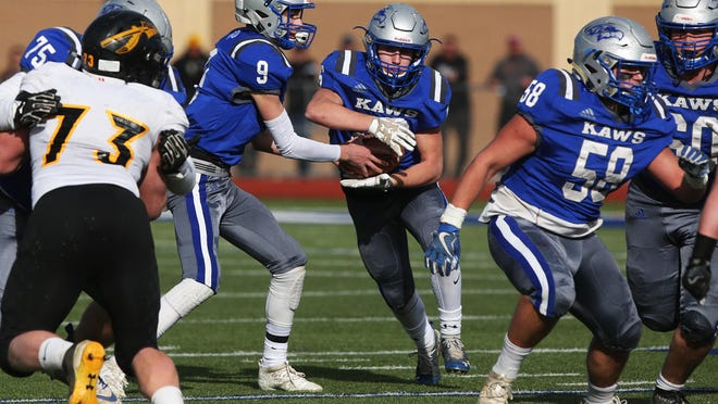 The duo of William Welch (9) and Thad Metcalfe (with ball) helped lead Perry-Lecompton to the Class 3A state championship game a year ago and a 2-0 start this season.