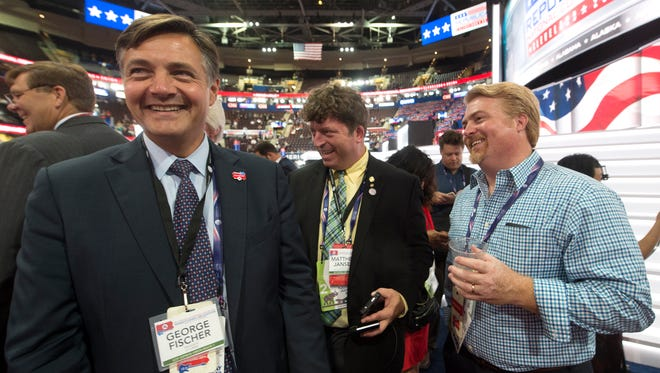 From left: George Fischer, Matthew Jansen and Marc Scaringi, Pennsylvania delegates, joke around during the Republican National Convention held at the Quicken Loans Arena on Tuesday, July 19, 2016. Fischer, of York County, is an at-large delegate for the state. Jansen and Scaringi represent the 4th Congressional District.