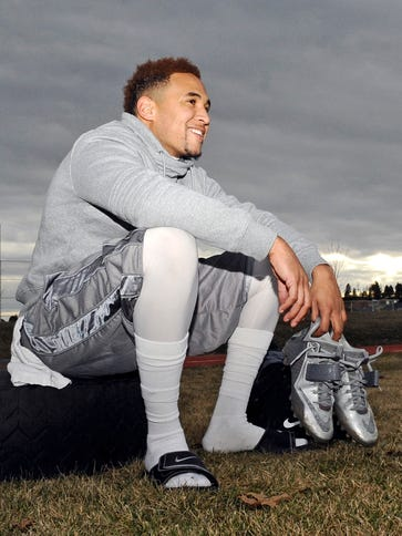 Vernon Adams cools down after a practice at Cheney