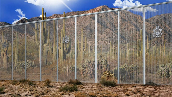 This artistic rendering from contractor Penna Group of Fort Worth, Texas, shows a proposed for President Trump's wall along the United States' southern border with Mexico.