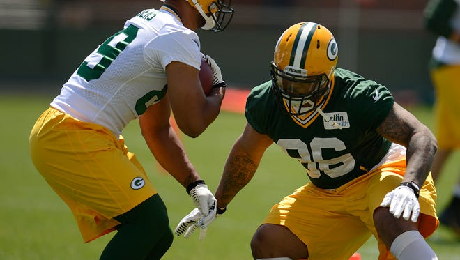 Green Bay Packers linebacker Mike Neal (96) will start training camp on the PUP list.