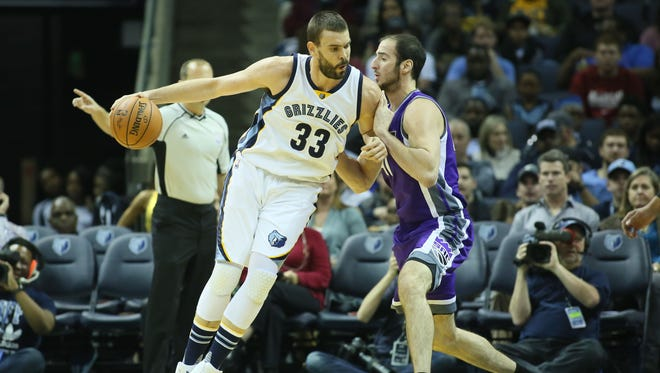 Memphis Grizzlies center Marc Gasol (33) drives against Sacramento Kings center Kosta Koufos (41) during the first quarter at FedExForum on Friday, Jan. 20, 2017.