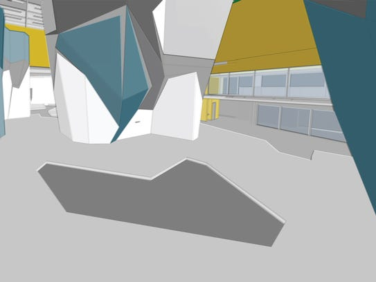 Stylized rendering shows installation of climbing boulders