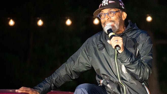 """Director Spike Lee, a part-time island resident, talks about his film """"Do the Right Thing"""" at a screening earlier this summer at the drive-in theater set up by the Martha's Vineyard Film Festival."""