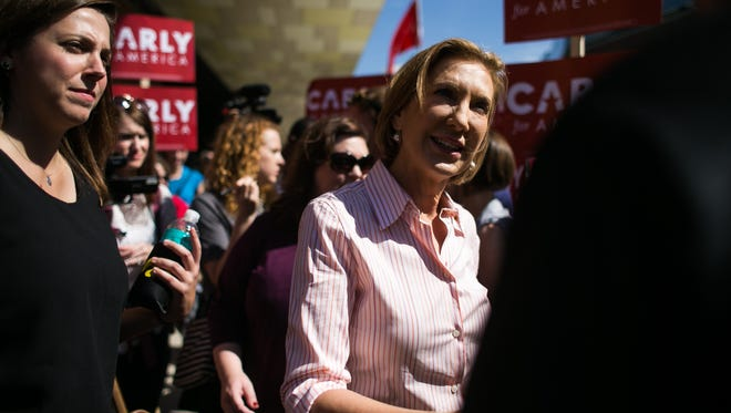 Republican presidential hopeful Carly Fiorina attends an Iowa Hawkeyes tailgate on Sept. 26.