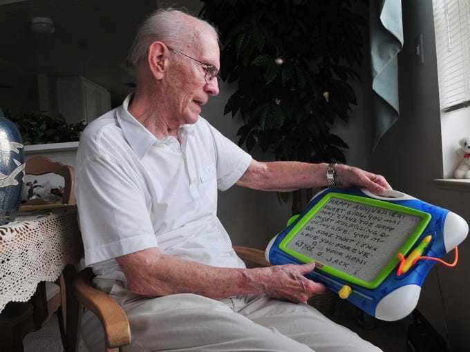 "John ""Jack"" Ensminger, 90, of Cape Canaveral, saves a message that he wrote to his wife on their 63rd wedding anniversary. Jack and Kae used to talk about dying together. Death took her first and he's had to learn how to enjoy life again."
