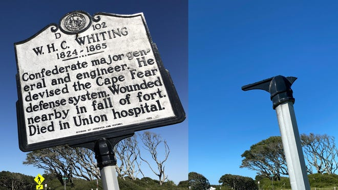 The state highway historic marker to W.H.C Whiting at Fort Fisher was broken off its post during Hurricane Isaias in early August.