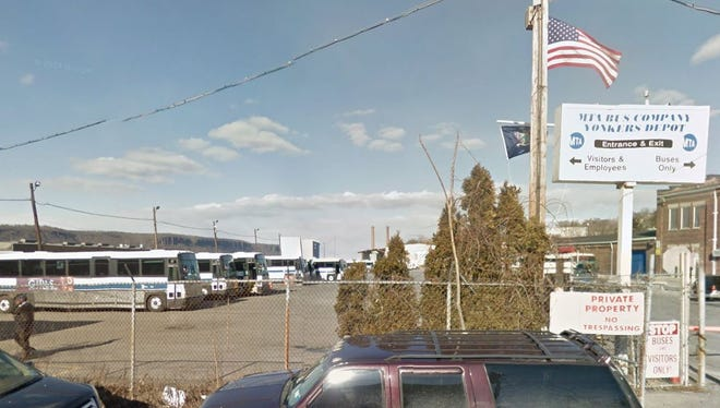 The entrance to the MTA's bus depot on the Yonkers waterfront.