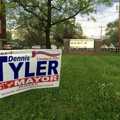 A campaign sign for Mayor Dennis Tyler outside the