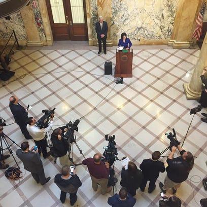 Monroe County Executive Cheryl Dinolfo takes questions