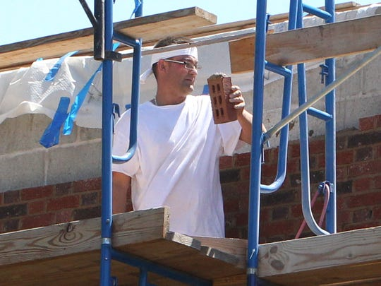 Contruction worker at Congers Elementary School on Aug. 4.
