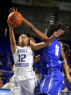 MTSU's Brea Edwards (12) has been on of the Lady Raiders' most consistent weapons this season.