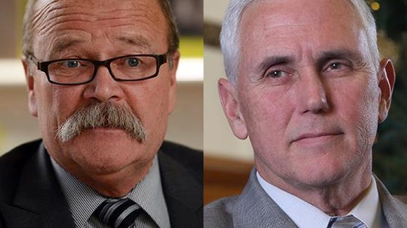 John Gregg (left) and Gov. Mike Pence