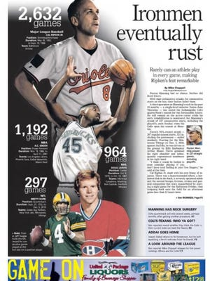 IndyStar Colts Weekend section front from Sept. 9, 2011 recognizing Peyton Manning's ironman streak