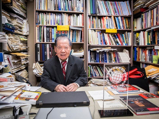 Dr. The-Kuang Chang at his office in Ball State's North