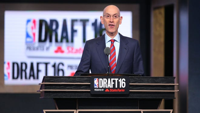 NBA commissioner Adam Silver speaks before the first round of the 2016 NBA Draft at Barclays Center.