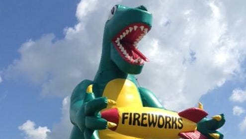 Stateline Fireworks in Griffin, Indiana, is missing its 30-foot inflatable dinosaur.