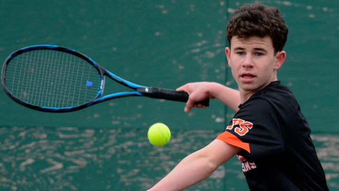 York Suburban's Parker Lando, seen here in a file photo, earned a straight-set victory in the No. 1 singles match against Littlestown on Tuesday. YORK DISPATCH FILE PHOTO