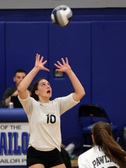 Pawling's Jaclyn Smith (10) sets the ball during Section 1 girls volleyball Class C finals at Hendrick Hudson High School in Montrose Nov. 4, 2016. Bawling defeated Dobbs Ferry.
