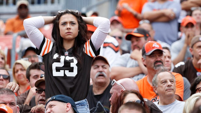 CLEVELAND, OH - SEPTEMBER 18: A Cleveland Browns fan reacts in the fourth quarter of the game against the Baltimore Ravens at FirstEnergy Stadium on September 18, 2016 in Cleveland, Ohio. The Ravens defeated the Browns 25-20. (Photo by Joe Robbins/Getty Images) ORG XMIT: 659205463 ORIG FILE ID: 607562470
