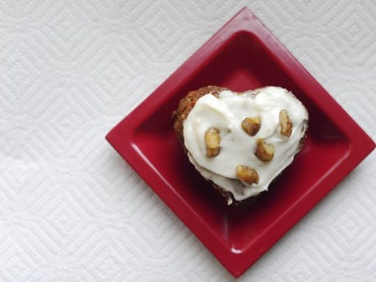 This Carrot Cupcake with Cream Cheese Frosting has 203 calories. (Daily Record/Sunday News -- Kate Penn)