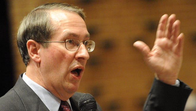 Rep. Bob Goodlatte, R-6th, responds to public comments during a town hall meeting on health care held at Turner Ashby High School in Bridgewater on Saturday, Sept. 5, 2009.
