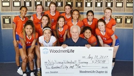 WoodmenLife's San Angelo Chapter 66 made a $250 donation to the 2017 Nita Vannoy Volleyball Tournament to help provide food and refreshments for participating teams.  Local Financial Representative Tommy Wood presented the check to the SACHS Lady Cats Volleyball Team pictured here. This was Woodmen's second year to make this donation.