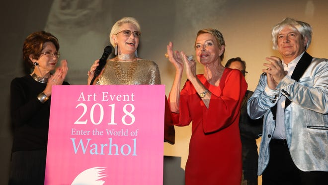 """Event Co-Chair Bobbi Holland, The JoAnn McGrath Executive Director Liz Armstrong, Event Co-Chair and Board Chair Emerita Donna MacMillan with Honoree Jordan Schnitzer announce """"Not Your Typical Gala"""" raised $1 million towards museum operations and education programs."""