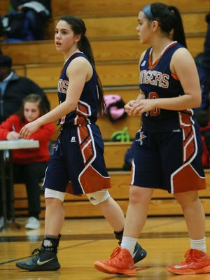 Riverside's Kayla Galindo, left, and sister Anika Galindo take the floor for the start of the second half Tuesday.