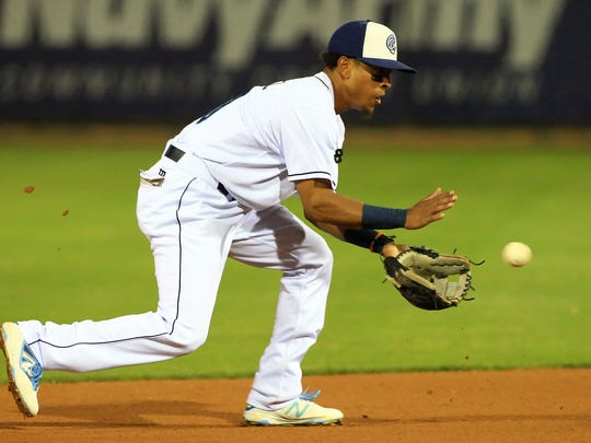 Hooks' Antonio Nunez reaches for the ball against Arkansas on Saturday, April 15, 2017, at Whataburger Field in Corpus Christi.