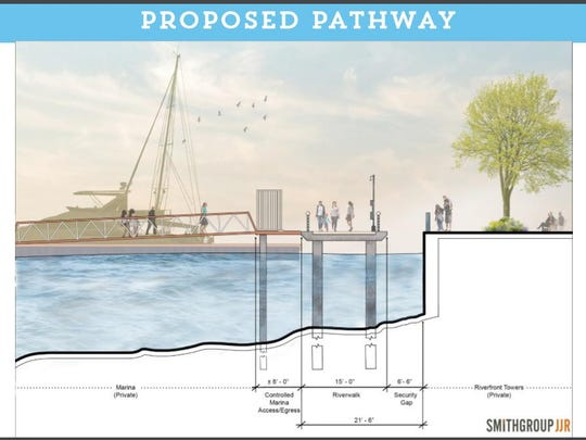 This architectural drawing shows the proposed marina pathway.