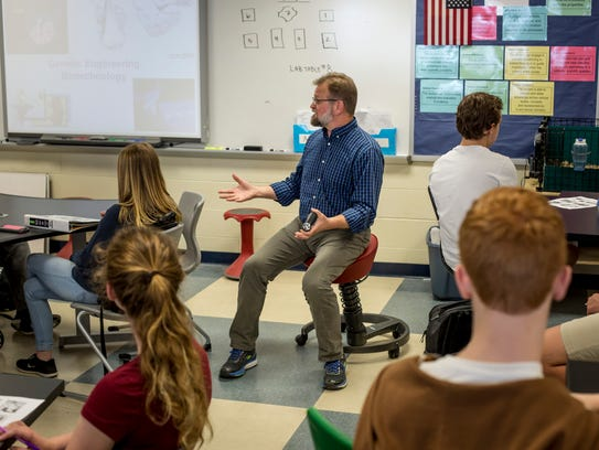 Mark Eberhard leads a lesson in his classroom Wednesday,