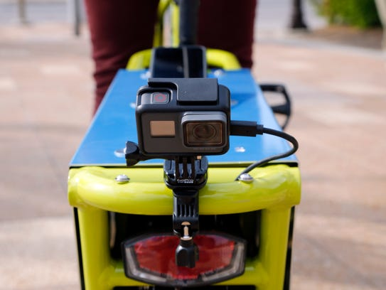 A GoPro camera attached to the rear of the Des Moines