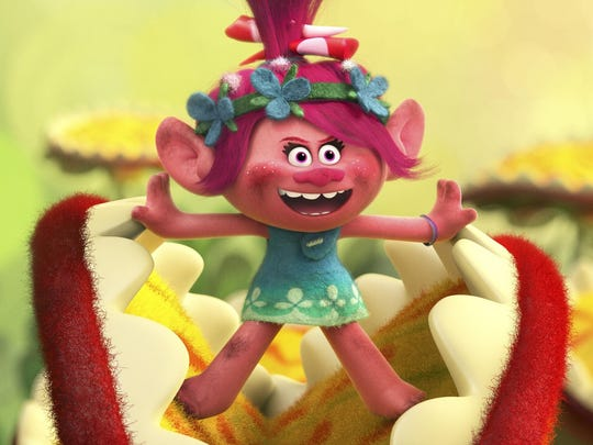 """Troll princess Poppy (voiced by Anna Kendrick) bursts into song in DreamWorks Animation's animated musical """"Trolls,"""" which also features the voices of Zooey Deschanel, Justin Timberlake and James Corden."""