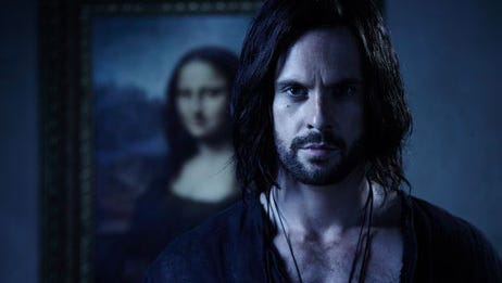 """Showing young Leonardo da Vinci (Tom Riley) with the 'Mona Lisa' he painted later in life is eyebrow-raising for sure, according to 'Da Vinci's Demons' creator David Goyer. However, this photo alludes to the fact that """"we may see a glimpse of the end of da Vinci's life next season,"""" he says."""