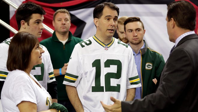 Wisconsin Gov. Scott Walker and his family at the NFC Championship Game in Atlanta.