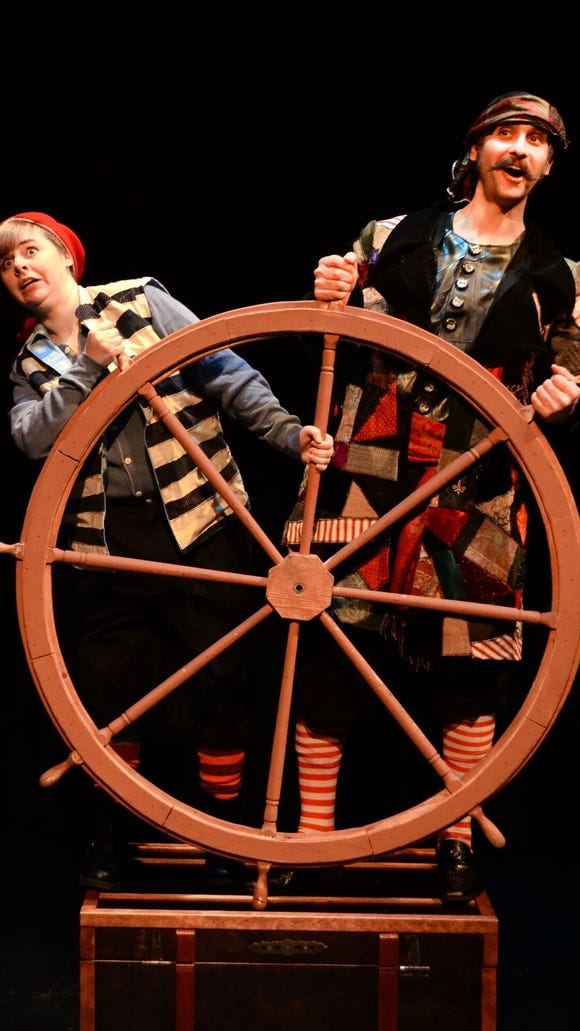 "Jason Gingold (right) plays Black Stache to Kylee Gano's Smee in ""Peter and the Starcatcher."""