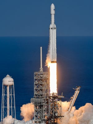 SpaceX's newest rocket, the Falcon Heavy lifts off on it first demonstration flight. The rocket leapt off Pad 39A at 3:45pm.