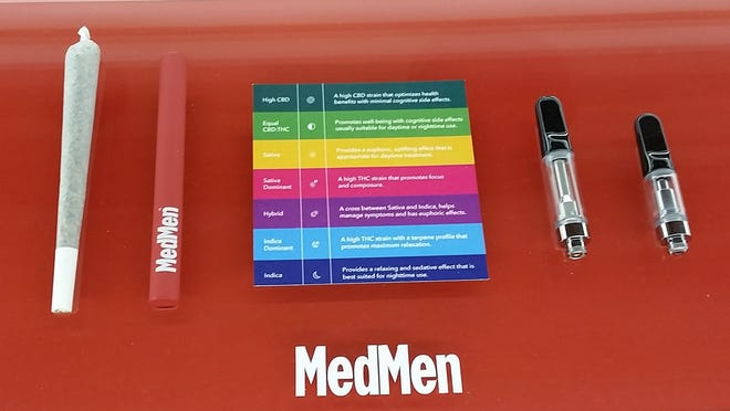"""Cannabis products for sale at MedMen's dispensary in West Palm Beach. The item on the far left is smokable """"flower."""""""