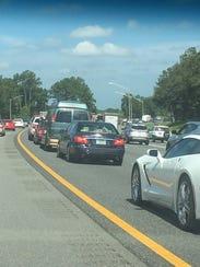 Laura Bohling of Murfreesboro is sitting in traffic