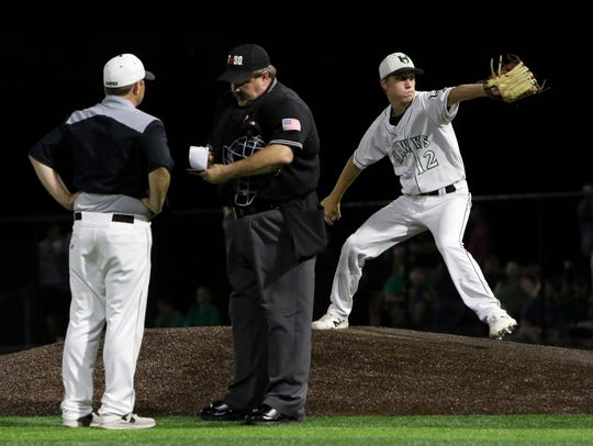 Iowa Park's Kaleb Gafford warms up to pitch in relief