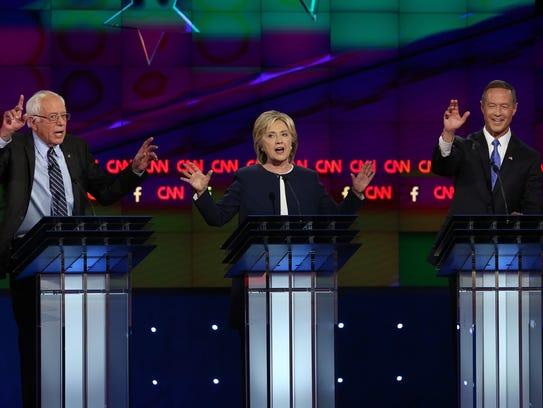 Democratic presidential candidates Bernie Sanders,