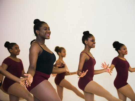 """May 25, 2017 - Carley Spivey, 13, second from left, rehearses for the dance performance of """"Annie"""" at the Ballet On Wheels Dance School & Company in Cooper Young on Thursday. Performances will be held on Saturday, June 3, at 7 p.m. and Sunday, June 4, at 2:30 p.m. at the Halloran Centre for Performing Arts and Education at 225 S. Main St. Tickets are available at www.ticketmaster.com."""
