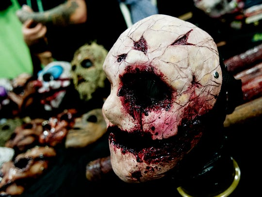 A scary mask is sold at Creepycon at the Knoxville