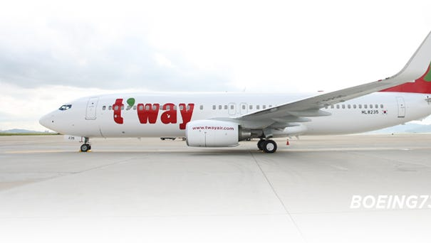 A T'way Air Boeing 737-800 taken from the airline's website.